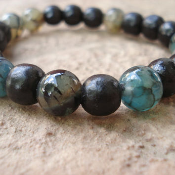 Fathers Day Gift,Mens Bracelet,Dyed Teal Fire Agate Bracelet, Semiprecious Stone, Black Wood,Gifts for him, Gifts Under 20