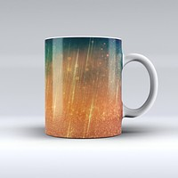 The Orange Scratched Surface with Gold Beams ink-Fuzed Ceramic Coffee Mug