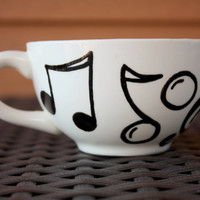 Musical Tea - Cream Teacup with Black Music Notes