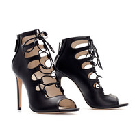 HIGH HEEL LEATHER ANKLE LACE-UP BOOT