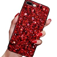 iPhone 7 Plus / 8 Plus Crystal Case, Luxury Fashion Bling Red Rhinestones Glitter Diamond Soft Silicone Protective Phone Case Beauty Shiny Sparkling Cover for Girls (Red, iPhone 7 Plus / 8 Plus)