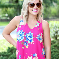 Floral Love Tank - Pink