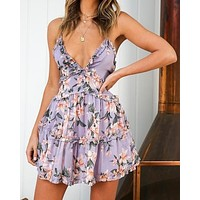 Attention Grabber Ruffled Trim Floral Print Mini Dress - Purple