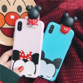 For iPhone X Cute 3D Cartoon Mickey mouse phone Cases For iphone 6 6s 6plus 7 7 Plus Toys soft silicon case back cover