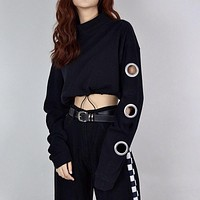 Women Loose Personality Drawstring Hollow Long Sleeve Solid Color Sweater Crop Tops