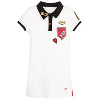 Girls White Polo Dress with Patches