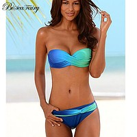Biseafairy Sexy Bikini Push Up Swimwear Women Swimsuit 2018 Bandeau Gradient Color Brazilian Bikini Set Beachwear Bathing Suits