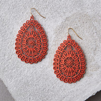 AEO Red Teardrop Cutout Earrings, Red
