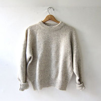 vintage oatmeal wool sweater. chunky knit sweater. eddie bauer.