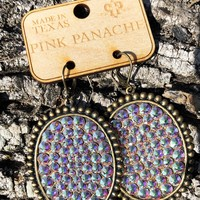 Pink Panache Bronze AB Oval Earrings