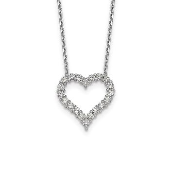 14k White Gold Real Diamond Heart 18 inch Necklace