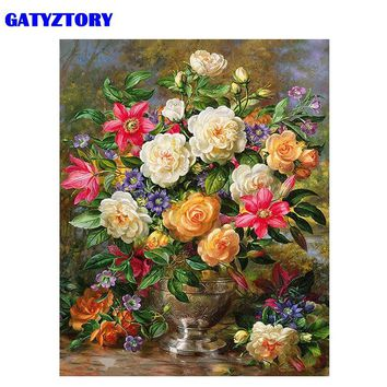 GATYZTORY Frame Camellia Flowers DIY Painting By Number Modern Wall Art Canvas Painting Acrylic Paint By Numbers For Home Decors