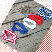 4th of July Headbands - Top Knot - Cotton Stretch - Baby headwrap - Patriotic Head wrap - Photos - Stripe - Red White Blue Navy - Bow Baby