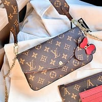 Onewel Lv classic three-in-one delivery wide shoulder strap Mickey pendant monogram shoulder bag
