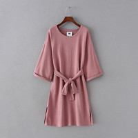 Solid Half Sleeve Side Open Loose Dress With Belt