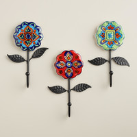 Ceramic Multicolored Floral Hooks with Leaves, Set of 3 - World Market