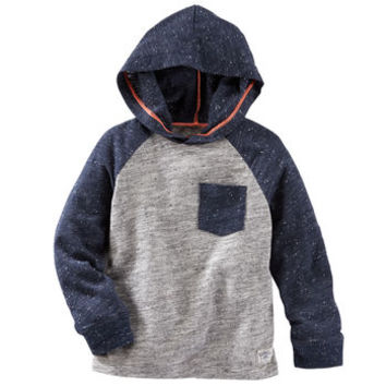 Hooded Colorblock Nep Yarn Pullover