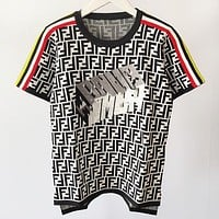 Fendi 2019 new double F letter embroidery short sleeve pullover knit top white
