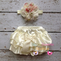 Ivory  Satin Bloomer Set- Headband and Bloomers- Newborn Outfit - Baby Girl Outfit - Cake smash outfit-  Photo Prop