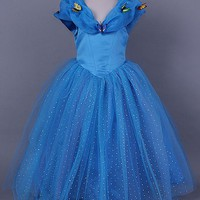 Summer New Kids Cinderella Dress Blue tulle Wedding Dresses for Girls Princess Cinderella Cosplay Costume With Butterfly