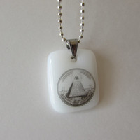 All Seeing Eye - Glass Necklace Pendant - Free Shipping