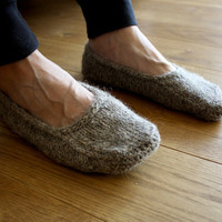 Earthy Natural brown organic  hand knit wool socks slippers for men Handmade to order