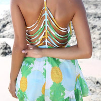 Pineapple Print Cut Out Chiffon Romper