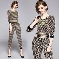 FENDI New Fashion Women Casual Long Sleeve Top Pants Trousers Set Two-Piece