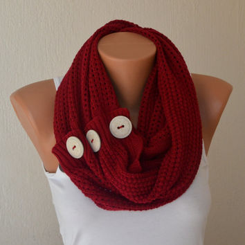 Red knit button infinity scarf circle scarf winter scarfs neck warmer cowl birthday gifts women's accessory fashion scarves