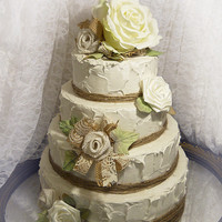 Burlap & White Pale Green Rose Cake Topper Flower Set. One of a kind and ready to ship!