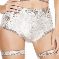 Sexy Zip Up Back Plush Crushed Velvet High Wasted Go Go Shorts