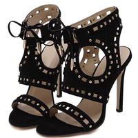 Black Cut Out Studs Lace Up Heeled Sandals