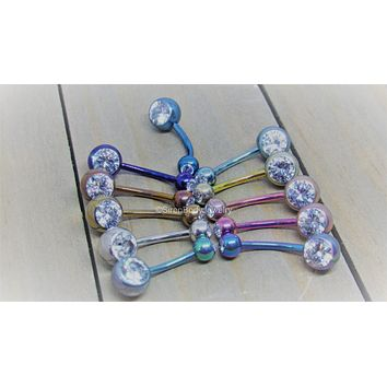 "Titanium belly ring 14g navel curve 7/16"" anodized pick your color double clear gem VCH bar"