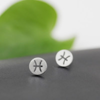 Fashion Simple 925 Sterling Silver 12 constellations Earrings(Pisces) ,a perfect gift !