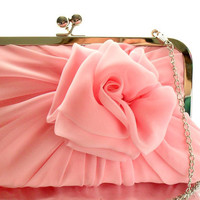SALE Baby Pink Rose Clutch With Chain - Size Large - Ready To Ship