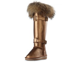 RUIYEE ladies fox fur snow boots fashion Cowhide boots ladies leather boots winter thick waterproof boots 2018 new