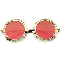 Women's Unique Retro Triple Coil Round Mirror Lens Sunglasses 9756