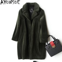 AYUNSUE Women's Real Fur Coat Female Winter Jacket Women 2018 Natural Sheep Shearing Fur Coats Warm Jackets Outerwear WYQ923