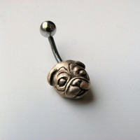 Pug dog belly button jewelry