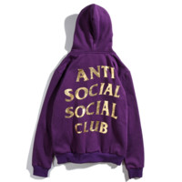 Anti Social Social Club New fashion bust side letter print and back letter print couple thick hooded long sleeve top Purple