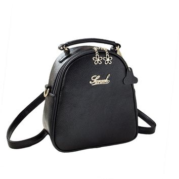 Women's PU Leather Backpack Ladies Casual Shoulder School Bag