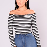 Oceana Stripe Top - Black