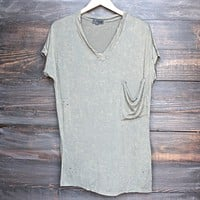 Final Sale - Oversized Distressed Vintage Acid Washed Tee in Olive