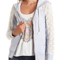 Scoop Neck Lace-Toppped Zip-Up Hoodie - Charcoal Heather