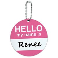 Renee Hello My Name Is Round ID Card Luggage Tag
