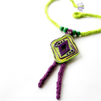 Green and purple, knit necklace, polymer clay pendant, pendant necklace, fiber jewelry, mixed media, festival wear, talisman necklace