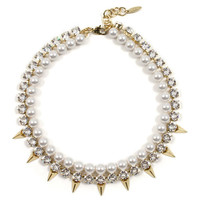 Vicious Love Crystal, Pearl, & Pyramid Necklace - Gold/Crystal