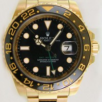 Never Worn Rolex GMT Master II Yellow Gold Black Ceramic 116718LN WATCH CHEST