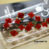 For iphone 4 4s 5 5s 5c case cover  6 plus Real pressed flower dried CLover RED