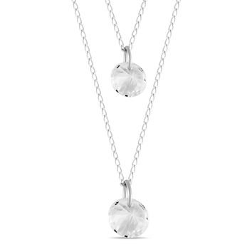 CZ Circle Lariat Necklace, Silver Plated Triple Crystals Necklace, Bridesmaid Necklace